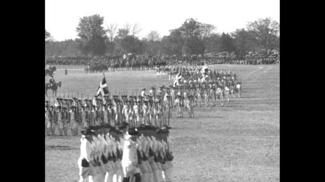 history on parade ends yorktown fete president hoover reviews continentals french allies and british redcoats as they march on 150th anniversary of... - herbert hoover us president stock videos & royalty-free footage