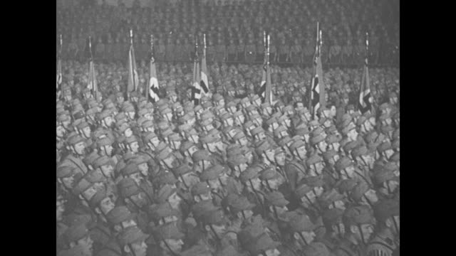 hitler speaks / title card editor's note this is a real character study of germany's 'man of the hour' he declares here to sixty thousand nazis 'you... - nazi brown shirts stock videos & royalty-free footage