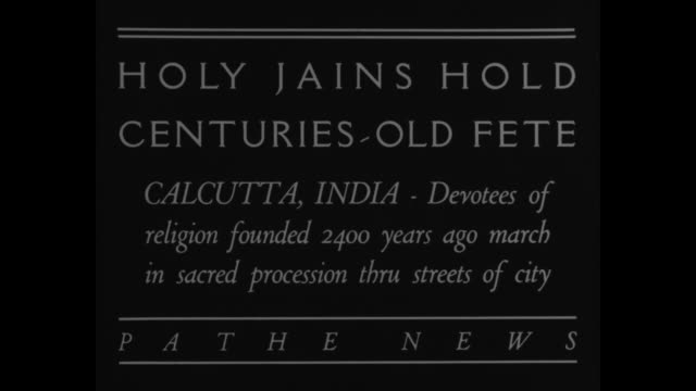 holy jains hold centuries old fete calcutta india devotees of religion founded 2400 years ago march in sacred procession thru streets of city / an... - westbengalen stock-videos und b-roll-filmmaterial