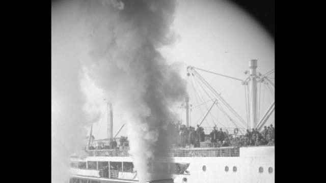 honeymooning tunneys back new york ring champ and wife arrive on vulcania after year's sojourn abroad / two shots of ocean liner vulcania sailing... - heavyweight stock videos and b-roll footage