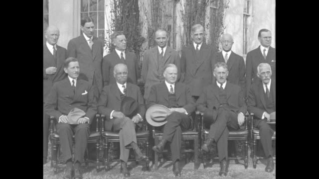 hoover and cabinet washington president calls meeting of cabinet to discuss tax increases to make up budget deficit dec 11 '31 / ws group shot... - herbert hoover us president stock videos & royalty-free footage