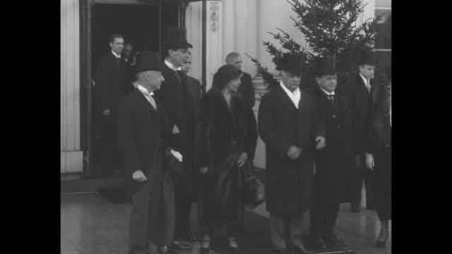 hoover gets enough handshakes to last for another year high and low call at white house to greet president and first lady / vs us secretary of state... - herbert hoover us president stock videos & royalty-free footage