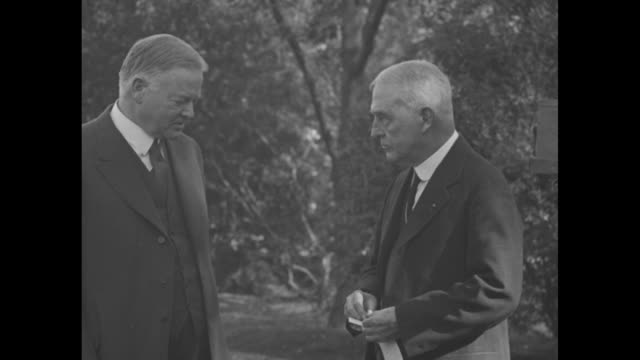 """""""hoover joins up with red cross, washington - chairman payne enrolls president as first member in annual drive"""" / pres. herbert hoover with john... - american red cross stock videos & royalty-free footage"""