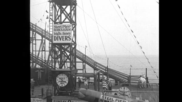 vídeos de stock, filmes e b-roll de horse is high dive champion atlantic city nj equine actor thrills steel pier visitors with 70 ft leap / shot of horse starting to climb ramp on pier... - diving suit