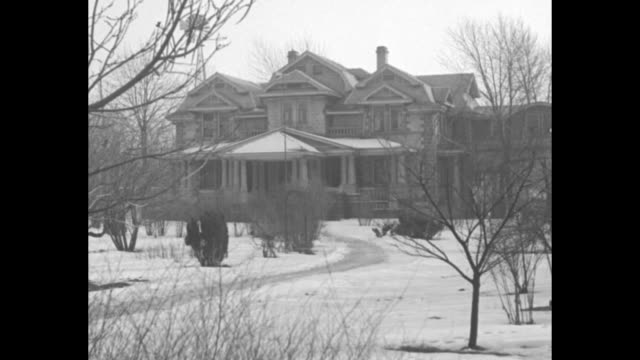 """""""house of david hunts buried gold-benton harbor, mich-weird whiskered cult seek $1 000 treasure hidden by late king ben"""" / mansion on snow covered... - cult stock videos & royalty-free footage"""