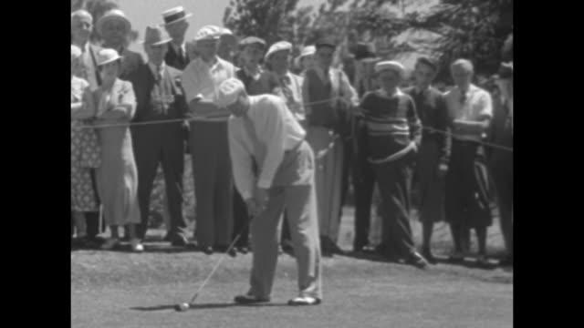 'How Carrick won Ontario Amateur Golf' / Canadian golfer Donald Carrick hitting tee shot at the Ontario Amateur Championship crowd watching during...