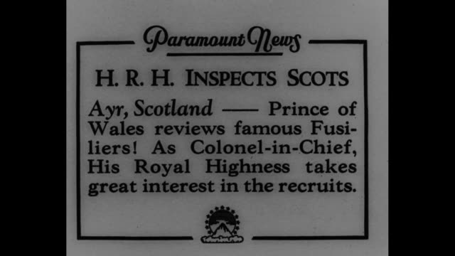 """inspects scots: ayr, scotland -- prince of wales reviews famous fusiliers! as colonel-in-chief, his royal highness takes great interest in recruits""""... - ayr stock videos & royalty-free footage"""