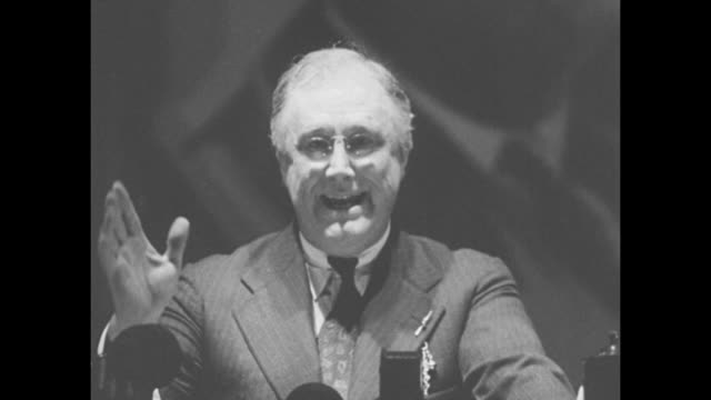 "repudiate…communism'--roosevelt"" then superimposed over pres franklin roosevelt speaking / vs roosevelt at podium / roosevelt sot: ""i have not... - social security stock videos & royalty-free footage"