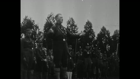 """stockvideo's en b-roll-footage met title card in german, loose translation """"germany's freedom will rise again, like the people and the fatherland will, stronger than ever!"""" / adolf... - salueren"""