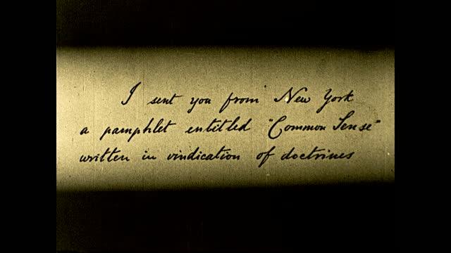 """in philadelphia, on an afternoon in february, 1776 --"" ""john adams, delegate from massachusetts to the continental congress --""; john adams sitting... - 独立宣言点の映像素材/bロール"