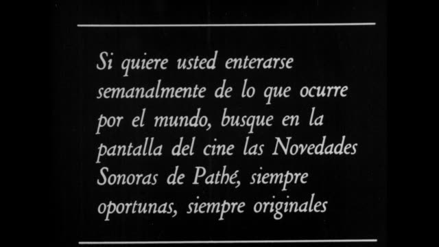 title card in spanish translates to if you want to find out weekly what is going on around the world look for the sound novels of pathe on the cinema... - film leader stock videos & royalty-free footage