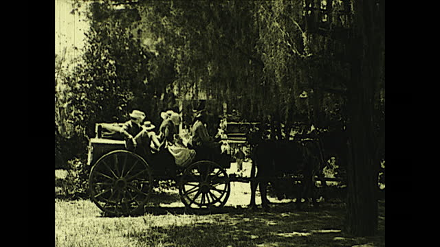 """""""in the village of pineville, where many families took refuge during the fateful summer of 1864, while fire and sword sweep the exposed portions of... - horse family stock videos & royalty-free footage"""