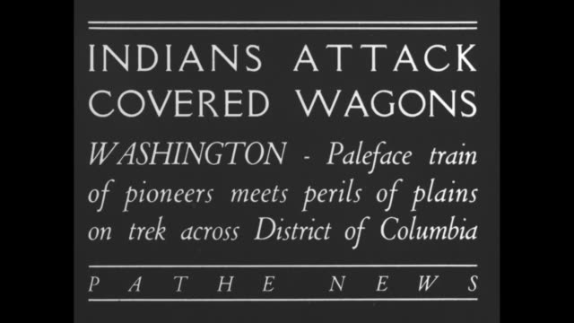indians attack covered wagons washington paleface train of pioneer meets perils of plains on trek across district of columbia / people riding in... - maultier stock-videos und b-roll-filmmaterial