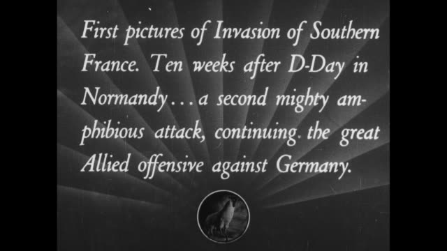 invasion of southern france / title card first pictures of southern france ten weeks after dday in normandy a second mighty amphibious attack... - deutsches militär stock-videos und b-roll-filmmaterial