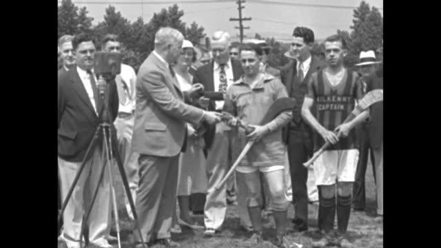 'Irish Day at Pittsburgh Mayor Herron presents keys of city to Cork and Kilkenny captains' / Mayor John Herron of Pittsburgh speaking in front of...