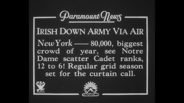 irish down army via air new york 80 biggest crowd of year see notre dame scatter ranks 12 to 6 regular grid season set for curtain call / before game... - 1934 stock videos & royalty-free footage