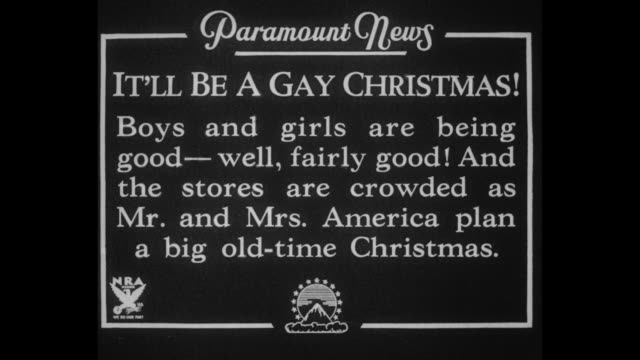 it'll be a gay christmas boys and girls are being goodwell fairly good and the stores are crowded as mr and mrs america plan a big oldtime christmas... - stuffed stock videos & royalty-free footage