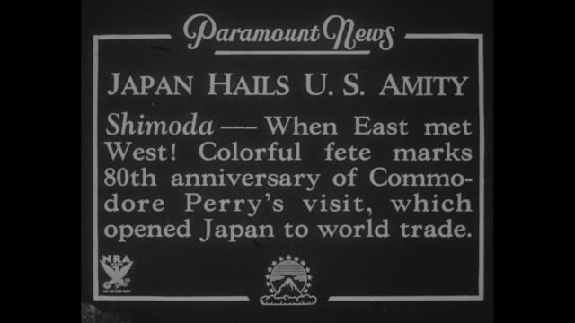 """""""japan hails u.s. amity - shimoda --- when east met west! colorful fete marks 80th anniversary of commodore perry's visit, which opened japan to... - 大使点の映像素材/bロール"""