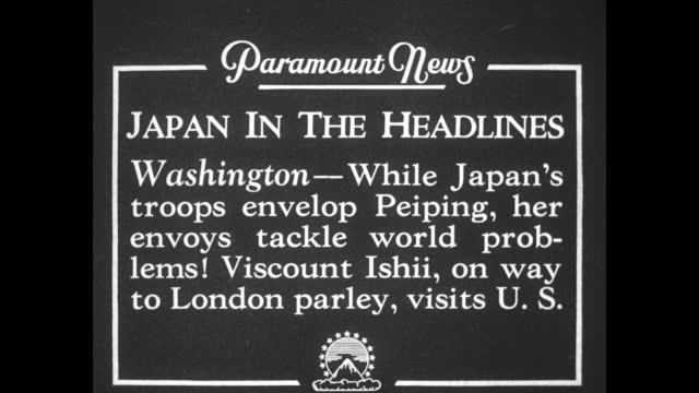 japan in the headlines washington while japan's troops envelop peiping her envoys tackle world problems viscount ishii on way to london parley visits... - cordell hull stock videos and b-roll footage