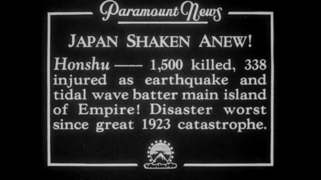japan shaken anew honshu 1500 killed 338 injured as earthquake and tidal wave batter main island of empire disaster worst since great 1923... - honshu stock videos and b-roll footage