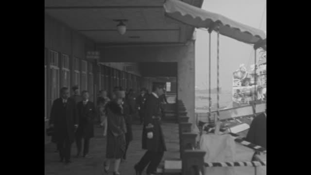 japan's imperial envoys begin tour yokohama japan prince and princess takamatsu sail for europe and america on goodwill trip / prince takamatsu and... - passagier wasserfahrzeug stock-videos und b-roll-filmmaterial