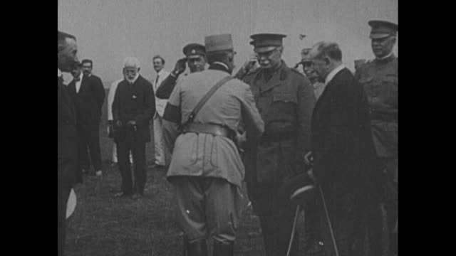 """""""jassy, rumania, first pictures of the visit of the us mission to the eastern front, king ferdinand welcoming major-general scott"""" / ferdinand i and... - romania stock videos & royalty-free footage"""