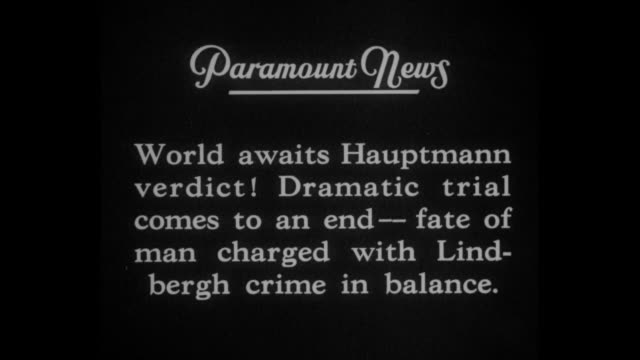 jury gets the case / title card world awaits hauptmann verdict dramatic trial comes to an end fate of man charged with lindbergh crime in balance /... - フレミントン点の映像素材/bロール