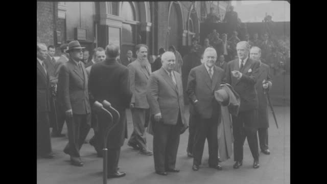 'Khrushchev Bulganin end visit to Britain' superimposed over the Premier of the Soviet Union Nikolai Bulganin and First Secretary of the Central...