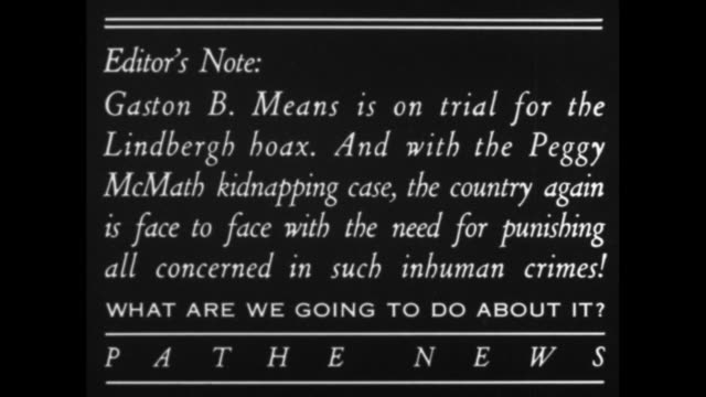 kidnap trials arouse us / title card editor's note gaston b means is on trial for the lindbergh hoax and with the peggy mcmath kidnapping case the... - charles lindbergh stock videos & royalty-free footage