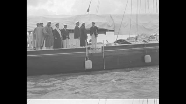 king at yacht race cowes eng king george takes part in historic regatta aboard his own 'britannia' for first time since illness / george on deck of... - spanking stock videos and b-roll footage