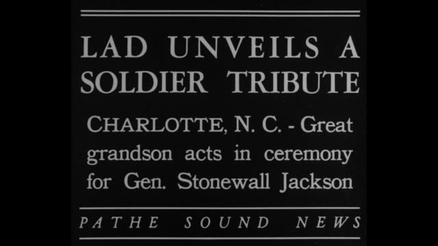 Lad Unveils A Soldier Tribute Charlotte NC Great grandson acts in ceremony for Gen Stonewall Jackson / Thomas Preston greatgrandson of Gen Thomas...