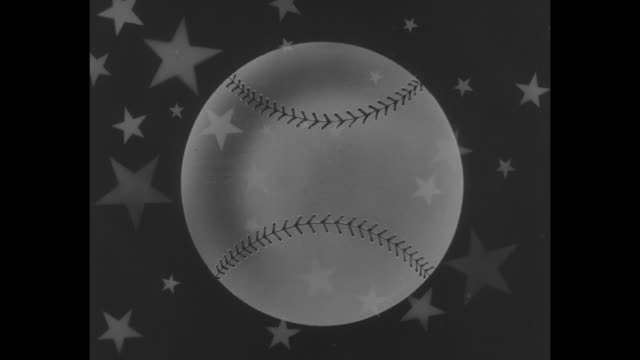 large baseball with stars all around it / ws crowd in stands at briggs stadium in detroit / ny yankees' manager casey stengel and philadelphia... - philadelphia phillies stock-videos und b-roll-filmmaterial
