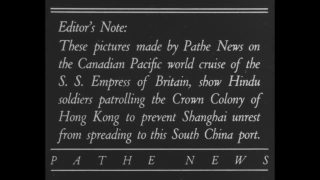 """""""loyal native troops from india guard britain's gateway to troubled china"""" / title card: """"editor's note: these pictures made by pathe news on the... - chinese language stock videos & royalty-free footage"""