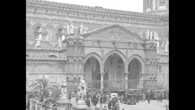 """maid of orleans weds her prince - 200 nobles see princess isabelle become bridge of prince henri, comte de paris, at cathedral of palermo, italy"" /... - 1930 video stock e b–roll"