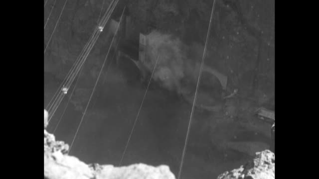 man's genius turns river at hoover dam nature conquered as mighty colorado is diverted from ageold course in boulder canyon / ls boulder canyon at... - hoover staudamm stock-videos und b-roll-filmmaterial