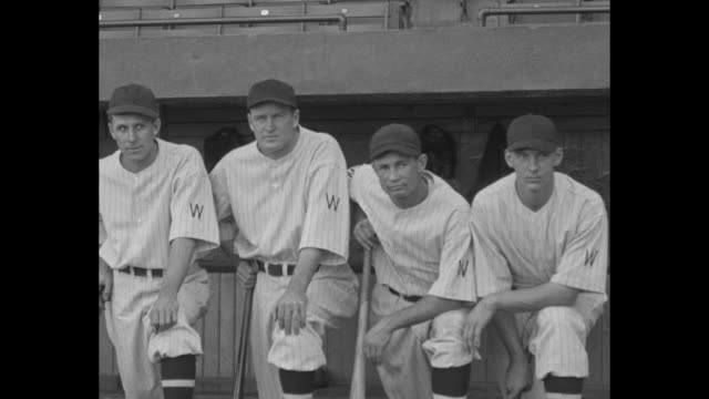 òmeet the senators washingtontheyõre out to trim the ny giants 26yearold playing manager joe cronin guides american leagueõs world series entryó /... - 1933 stock videos and b-roll footage