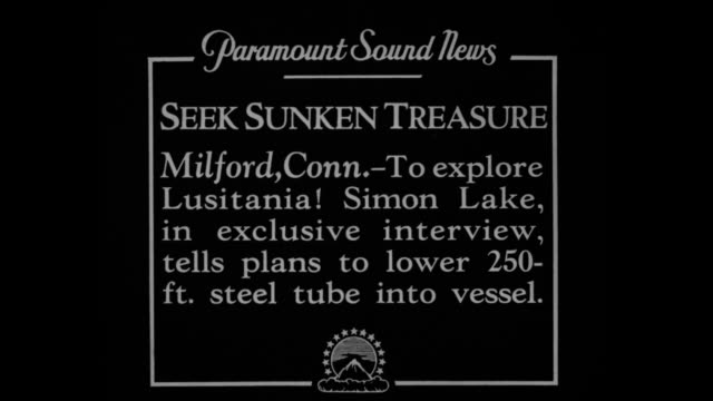 vidéos et rushes de milford connto explore lusitania simon lake in an exclusive interview tells plans to lower 250ft steel tube into vessel / mechanical engineer and... - épave