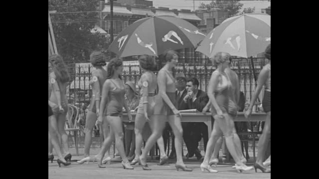 miss venus picked for good measure bathing beauties from far and near step out at coney island steeplechase seeking crown of roman goddess / long... - steeplechase stock videos and b-roll footage