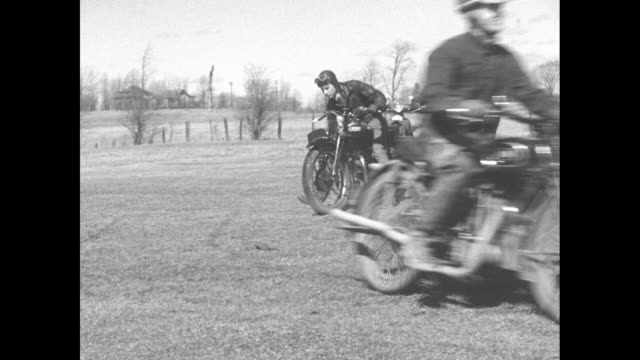 montreal riders test motorcycles in steeplechase contestants pilot latest models over bumpy course at valois que / 10 men in a row on motorcycles... - steeplechase stock videos and b-roll footage