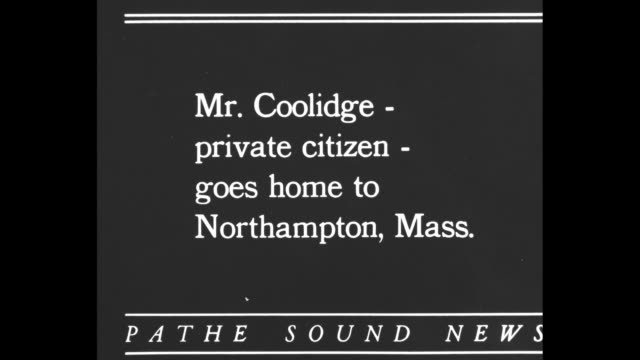 mr coolidge private citizen goes home to northampton mass / departing former president calvin coolidge and former first lady grace coolidge stand on... - coolidge calvin stock videos & royalty-free footage
