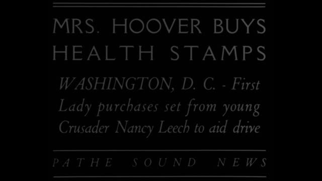 vídeos de stock e filmes b-roll de mrs hoover buys health stamps washington d c first lady purchases set from young crusader nancy leech to aid drive / standing on steps mrs lou hoover... - selo postal