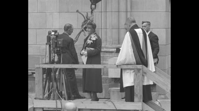 vídeos de stock, filmes e b-roll de mrs hoover lays cornerstone of cathedral porch first lady officiates at ceremony starting work on north addition to national shrine in washington dc... - falls church