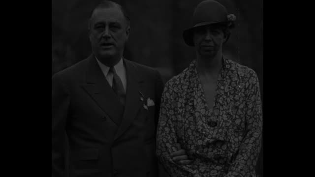 Mrs Roosevelt attends Governors' Conference with husband Gov F D Roosevelt NY April 26 1932 / Governor Roosevelt speaks to camera standing next to...