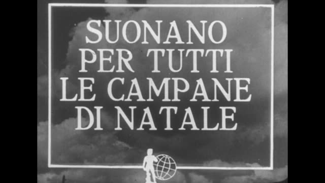 Name of company that produces weekly Italian newsreels 'La Settimana Incom' superimposed over small replica of statue of David and spinning world...