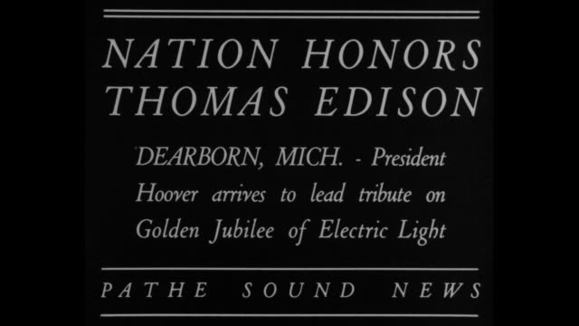 nation honors thomas edison dearborn mi president hoover arrives to lead tribute on golden jubilee of electric light / train slowly approaches as it... - herbert hoover us president stock videos & royalty-free footage