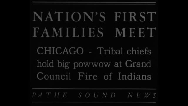 nation's first families meet chicago tribal chiefs hold big powwow at grand council fire of indians / chiefs in headdresses meeting and dancing... - indigenes volk stock-videos und b-roll-filmmaterial