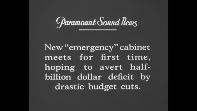 new 'emergency' cabinet meets for first time hoping to avert halfbillion dollar deficit by drastic budget cuts / prime minister ramsay macdonald and... - great depression stock videos & royalty-free footage