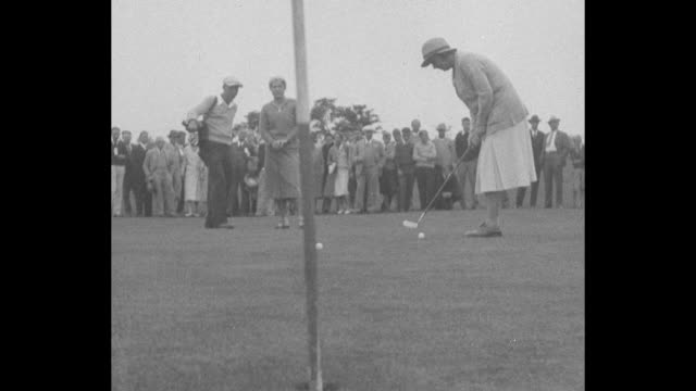 """""""new golf queen! - buffalo - helen hicks, 20-year-old star, takes title from glenna collett-vare, five times national champion"""" / helen hicks tees... - narrating stock-videos und b-roll-filmmaterial"""