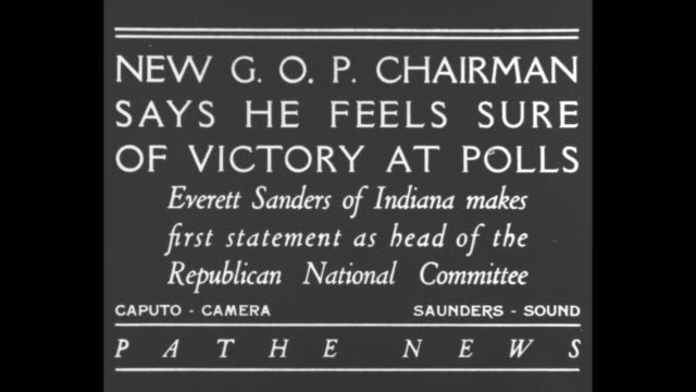 new gop chairman says he feels sure of victory at polls everett sanders of indiana makes first statement as head of the republican national committee... - landline phone stock videos & royalty-free footage