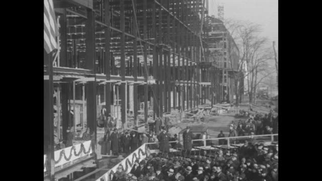 """vídeos de stock e filmes b-roll de """"new labor building - president and first lady attend masonic ceremony in washington"""" / crowd in front of building that is under construction / pres.... - cimento"""
